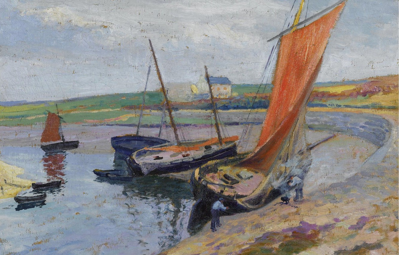 Фото обои картина, парус, Paul Madeline, Пол Медлин, Лодка на Морском Берегу