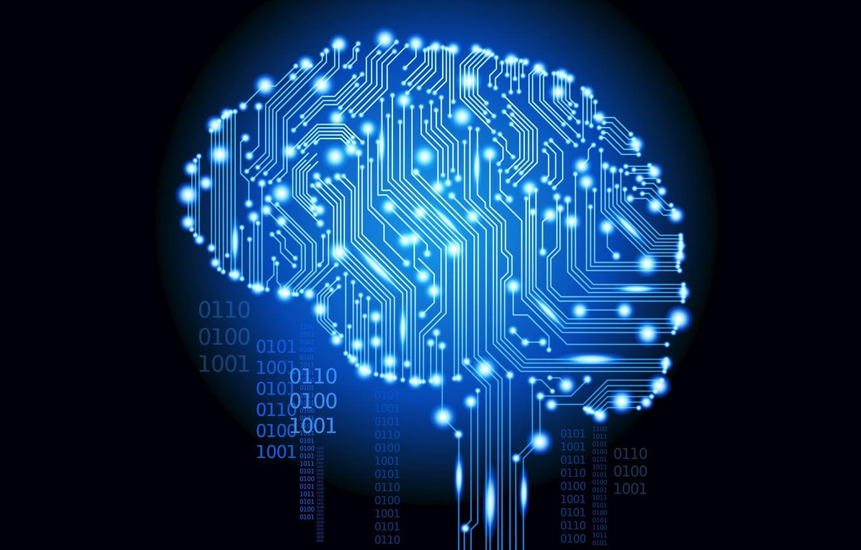 Фото обои микросхема, мозг, двоичный код, нули, единицы