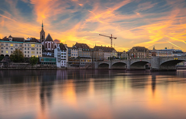Фото обои закат, мост, река, здания, дома, Швейцария, Switzerland, Basel, Базель, Rhine River, Река Рейн, Middle Bridge