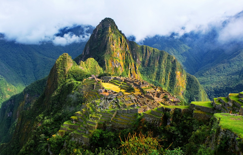 Фото обои небо, облака, горы, древний город, Перу, Мачу-Пикчу, инки