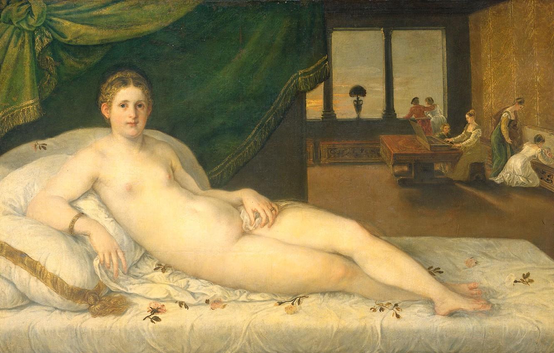 Фото обои эротика, масло, картина, холст, 1565, Лежащая Венера, Ламберт Сустрис, Lambert Sustris