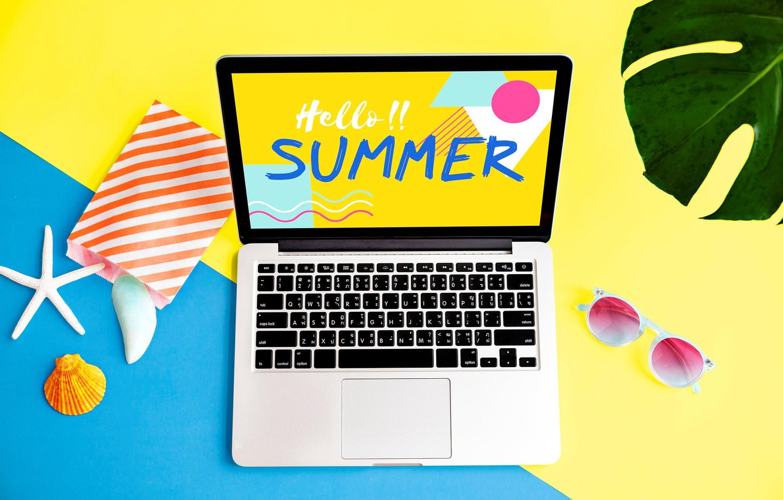 Фото обои лето, надпись, очки, ноутбук