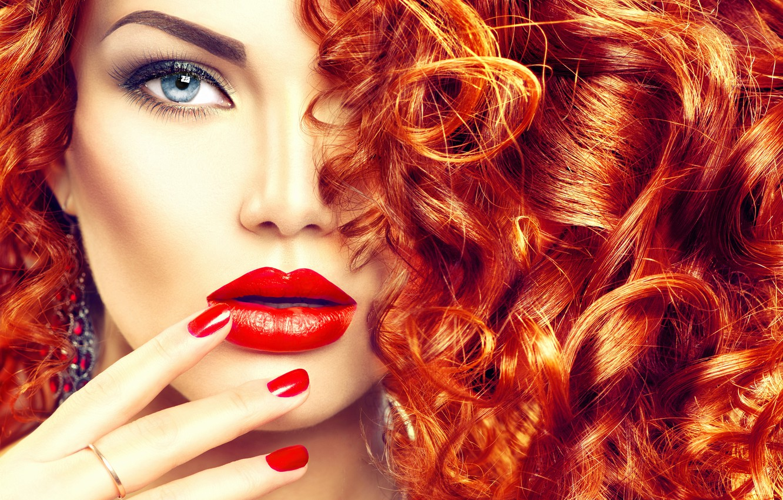 Фото обои взгляд, девушка, волосы, макияж, прическа, рыжие, локоны