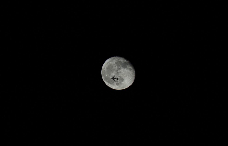 Фото обои чёрный, луна, минимализм, самолёт
