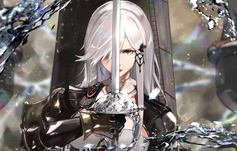 Фото обои девушка, меч, рыцарь