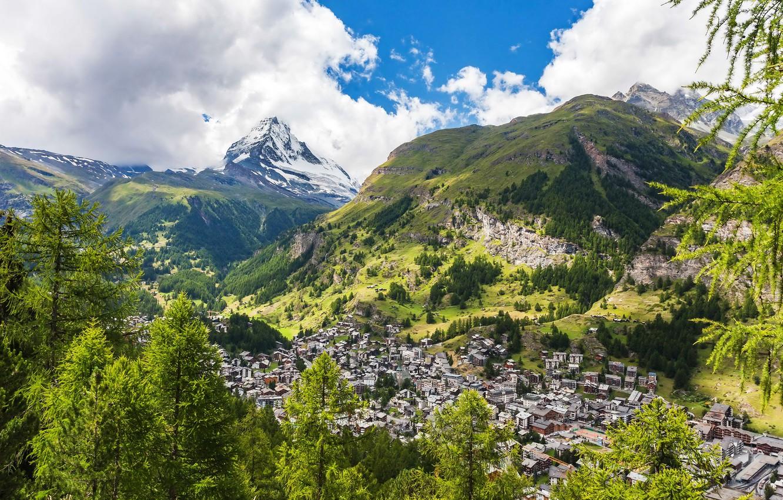 Обои швейцария, swiss alps, zermatt, долина, дома, альпы. Пейзажи foto 11