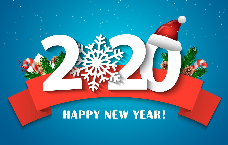 Фото обои ветки, лента, Новый год, хвоя, 2020