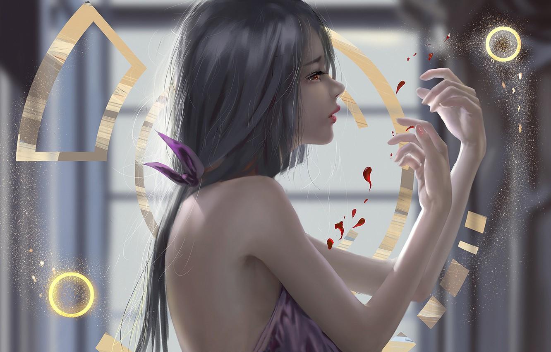 Фото обои girl, blood, fantasy, long hair, brunette, digital art, artwork, fantasy art, fantasy girl, symbols, bare …