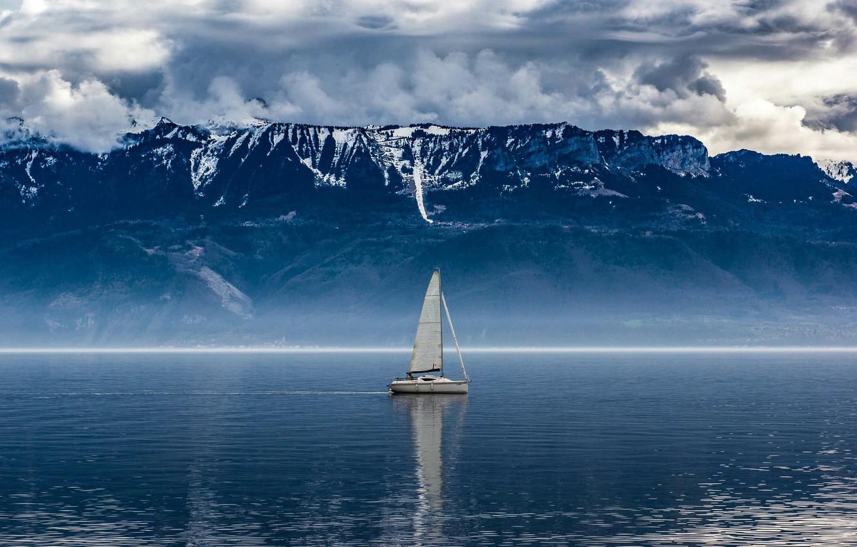 Фото обои Clouds, Sky, Blue, Lake, Boat