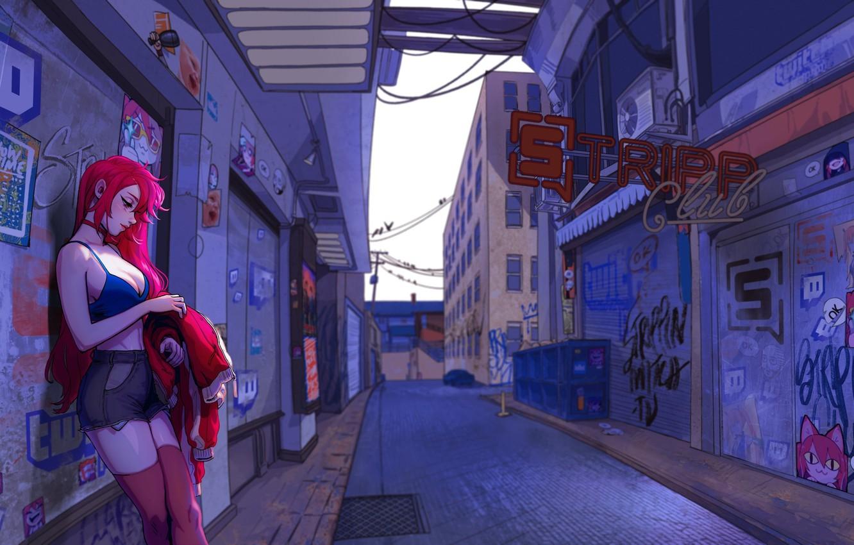 Фото обои Девушка, Шорты, Улица, Girl, Граффити, Куртка, Арт, Art, Рыжая, Рисунки, Graffiti, Street, Redhead, Рыжеволосая, Shorts, …