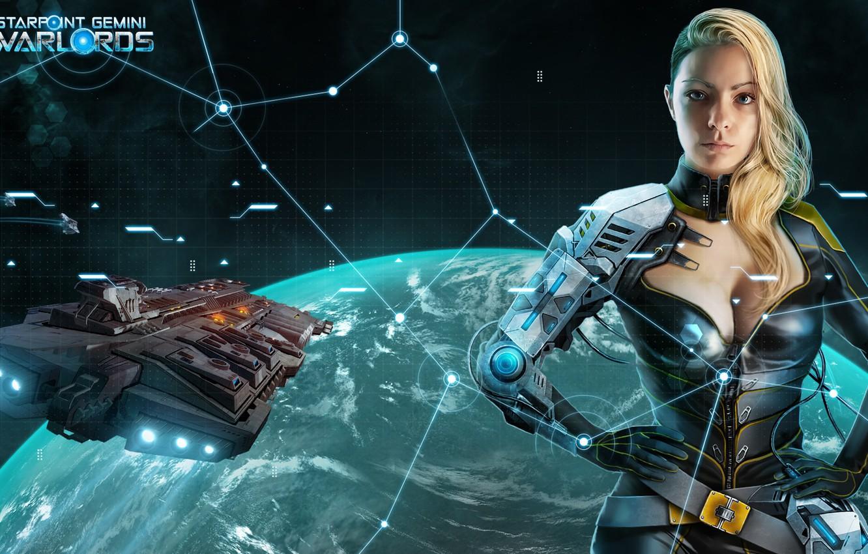 Фото обои space, fantasy, game, science fiction, spaceship, planet, digital art, artwork, cyborg, Starpoint Gemini Warlords