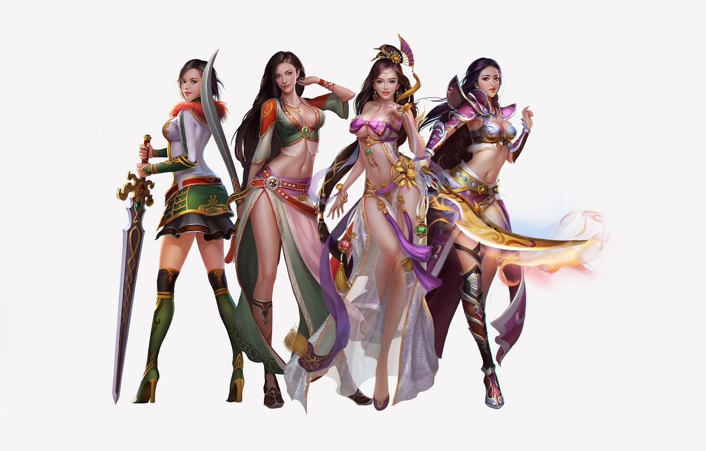 Фото обои Girl, Fantasy, Sexy, Art, Asian, Style, Girls, Background, Minimalism, Sword, Characters, Dress, Swords, Jianyachi L
