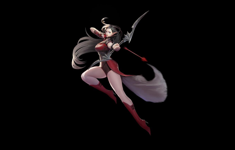 Фото обои Girl, Fantasy, Art, Style, Background, Illustration, Arrow, Elf, Minimalism, Archer, Character, Kyoung Min Yoo, Archer …