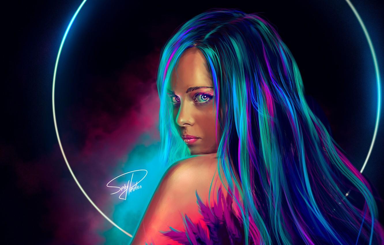 Фото обои девушка, арт, girl, длинные волосы, long hair, art, неоновый свет, neon light