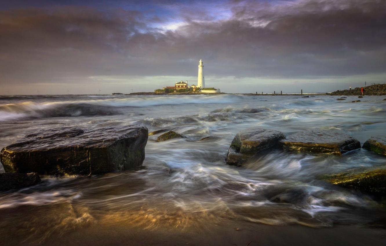 Фото обои море, пейзаж, тучи, природа, камни, маяк