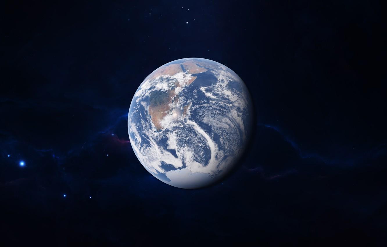 Фото обои Звезды, Планета, Космос, Туманность, Земля, Stars, Space, Earth, Planet, art, Nebula, madeinkipish, StarkitecktDesigns, background by …