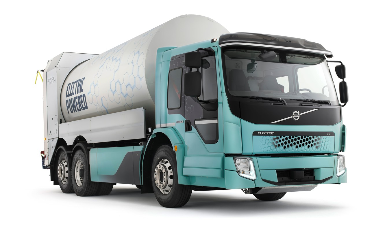 Фото обои Volvo, мусоровоз, FE Electric Refuse Collector