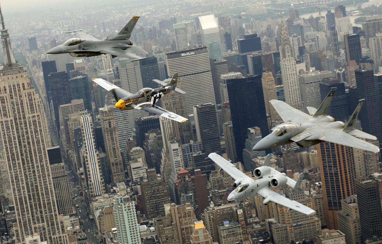 Фото обои город, Нью-Йорк, самолеты, парад