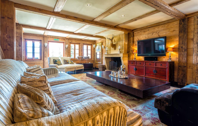 Фото обои стол, комната, окна, интерьер, телевизор, камин, диваны, гостиная