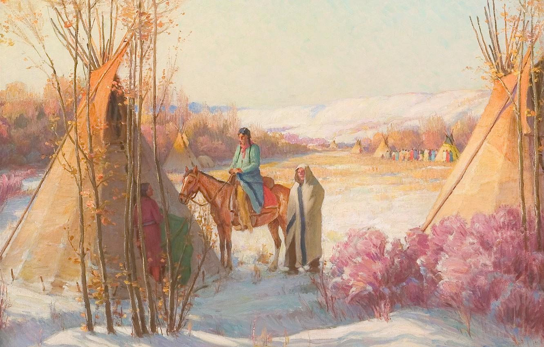 Фото обои Montana, Joseph Henry Sharp, Crow Reservation, Winter Squaw Dance