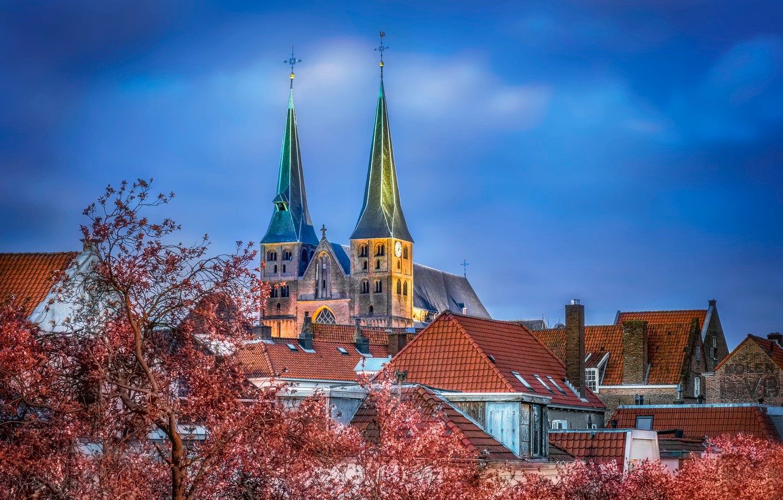 Фото обои церковь, Нидерланды, Bergkerk, Saint Nicholas Church