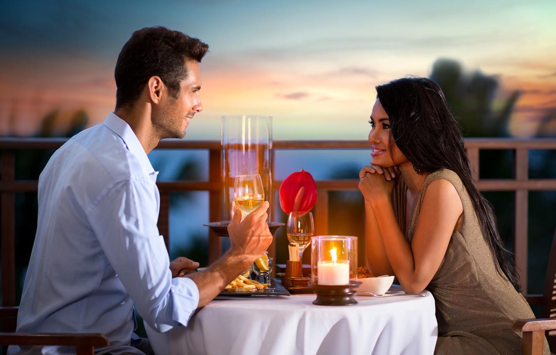 Фото обои girl, love, wine, food, boy, romantic, mood, candle, feeling, atmosphere, dinner, Couple