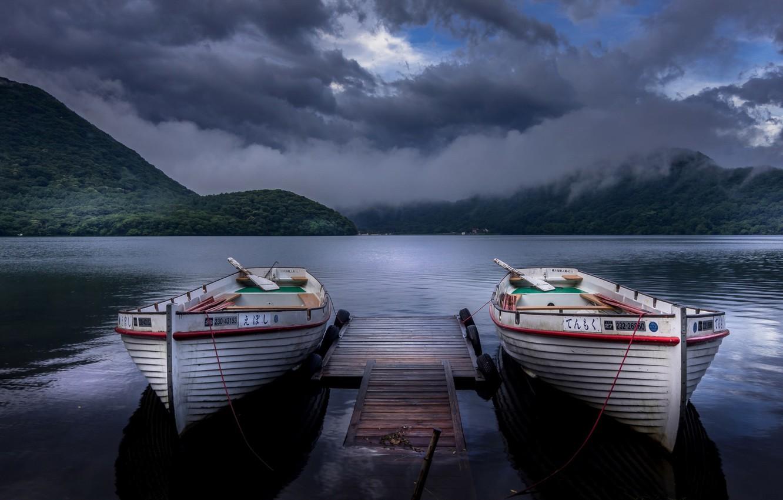 Фото обои озеро, лодки, вечер, Lake Haruna, Takasaki