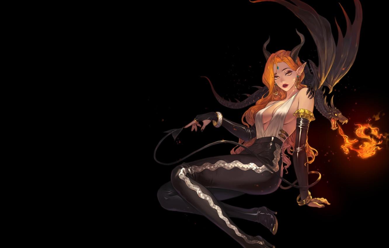 Фото обои взгляд, огонь, пламя, дракон, фэнтези, арт, рога, черный фон, демоница