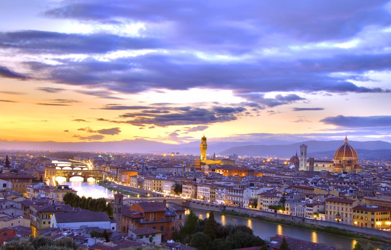 Фото обои city, sunset, florence