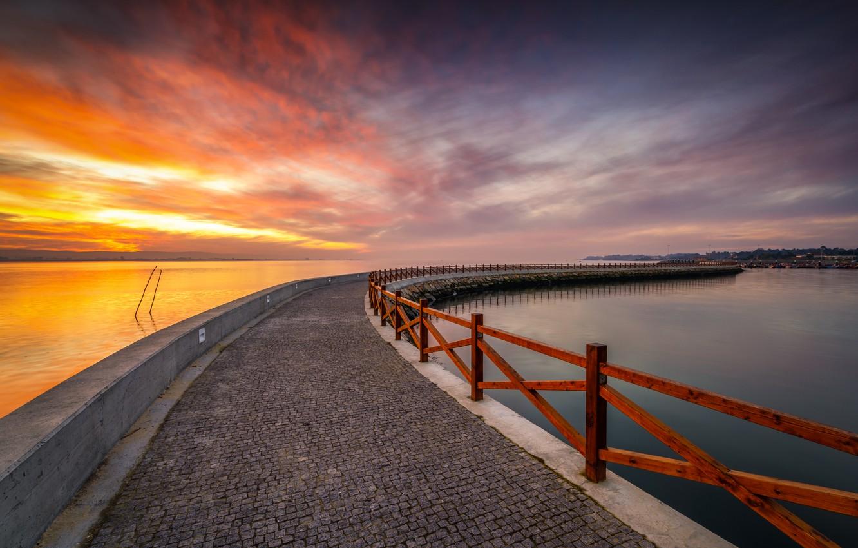 Фото обои море, закат, берег