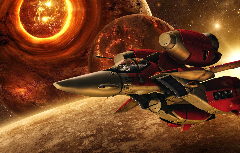 Фото обои космос, космический корабль, Macross, Макросс