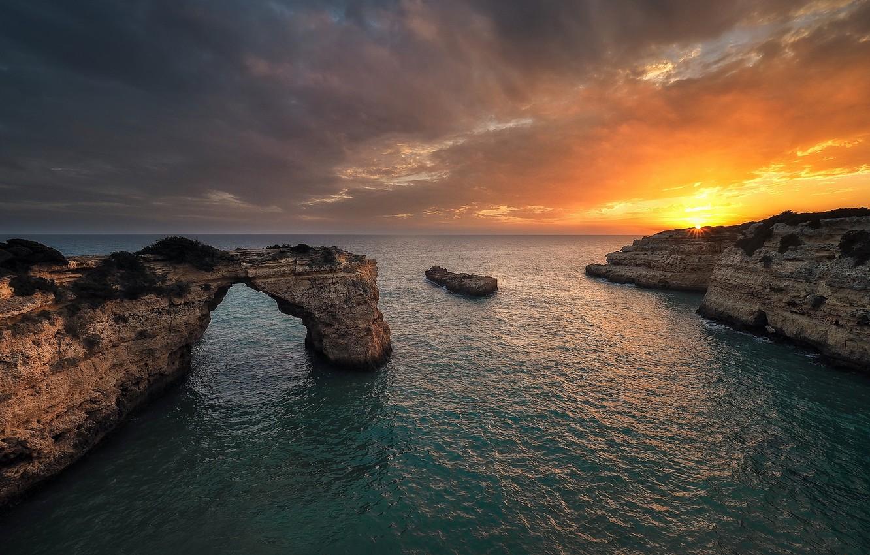 Фото обои sky, sea, landscape, coast, nature, Sunset, water, clouds, rocks, sunlight, cliff, arch