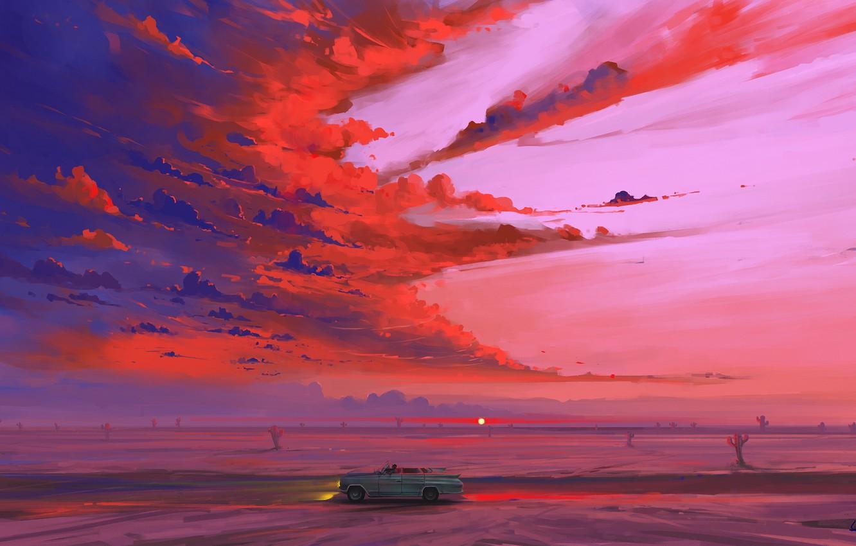 Фото обои car, road, sky, desert, landscape, nature, art, clouds, sunrise, artist, digital art, artwork, cactus, BisBiswas, …