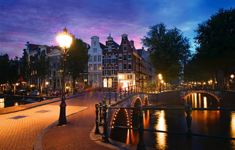 Обои канал, нидерланды, дома, ночь. Города foto 13