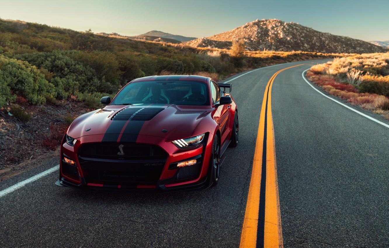 Фото обои дорога, машина, асфальт, солнце, свет, полоски, стиль, разметка, холмы, фары, Ford, поворот, спортивная, спорткар, Ford …