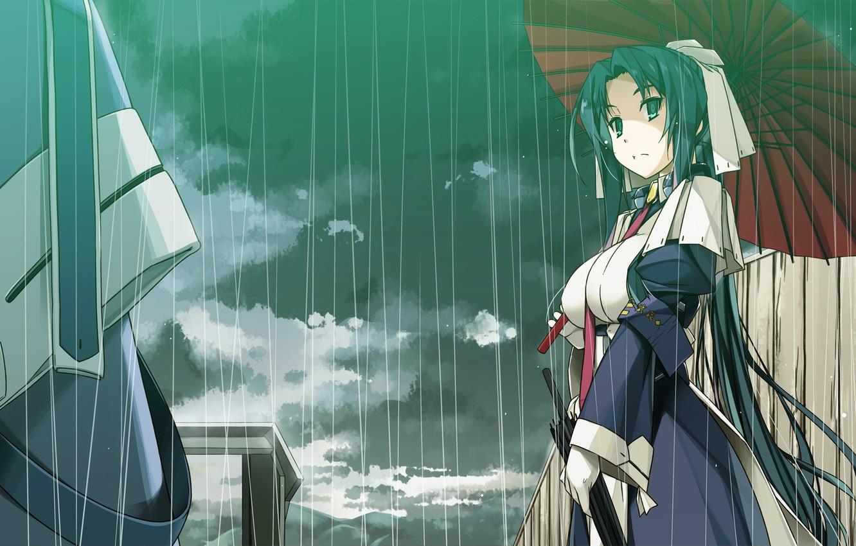 Фото обои девушка, дождь, зонт