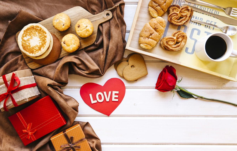 Фото обои любовь, подарок, розы, завтрак, красные, red, love, heart, выпечка, romantic, coffee cup, valentine's day, круассаны, …