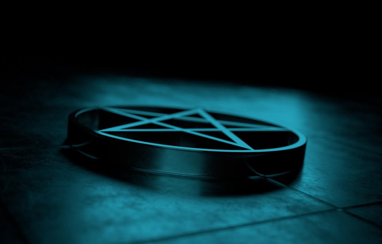 Фото обои dark, медальон, light, пентаграмма, art, render, рендер, reflection, блендер, pentagram, medalion, blender3d, 3dart