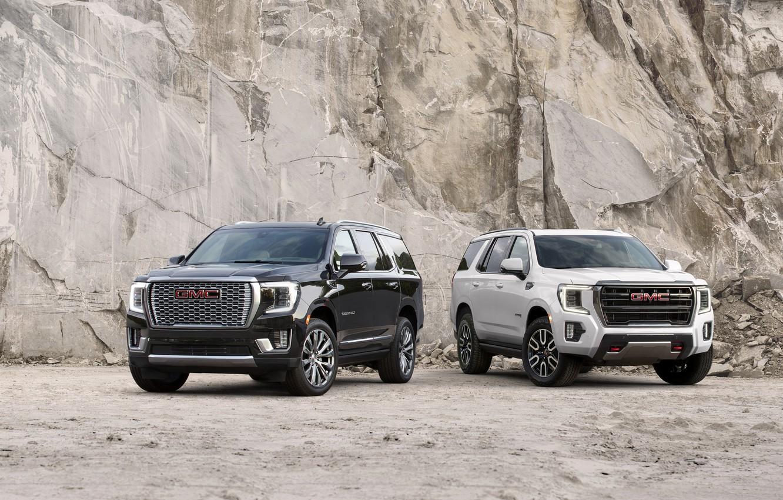 Фото обои скала, GMC, SUV, Denali, Yukon, AT4, 2020, 2021