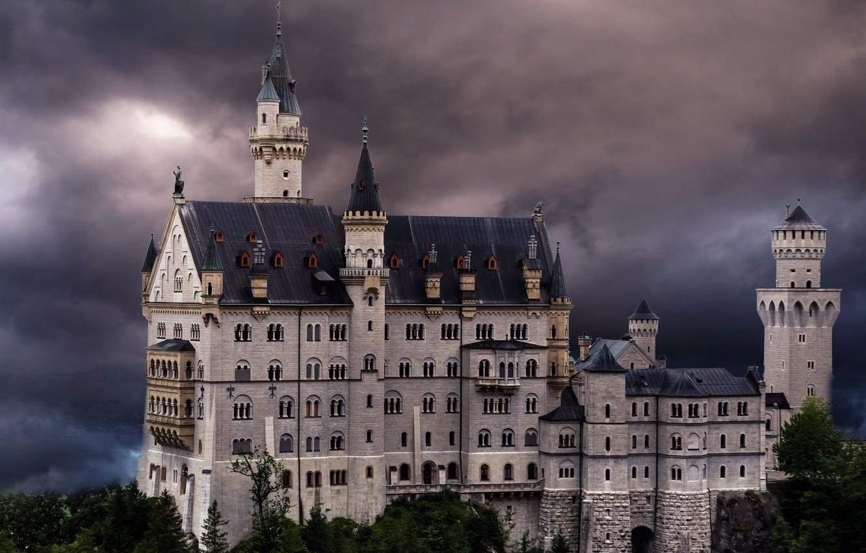 Фото обои Bavaria, Neuschwanstein Castle, Hohenschwangau, Landkreis Ostallgäu