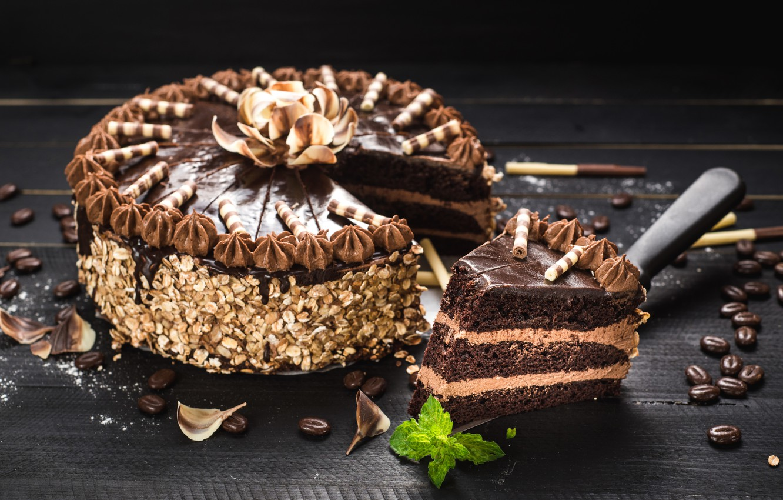 Обои пирожное, орехи, шоколад, крем. Еда foto 15