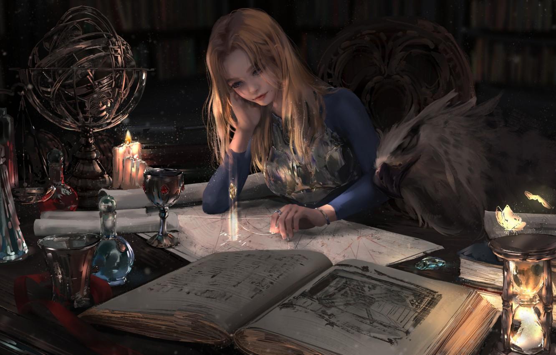 Фото обои бабочки, свечи, библиотека, грифон, глобус, колдунья, песочные часы, кубок, сидит в кресле, алхимия, магические книги, …