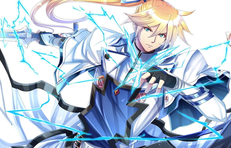 Фото обои молния, аниме, арт, Меч, парень, рыцарь, блондин