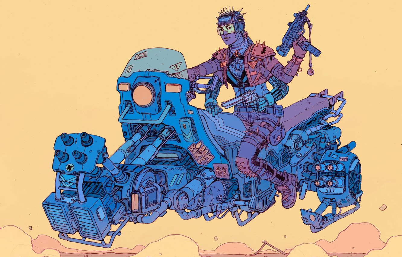 Фото обои Девушка, Girl, Оружие, Fantasy, Автомат, Gun, Арт, Art, Robot, Robots, Фантастика, Bike, Киборг, Револьвер, Киберпанк, …