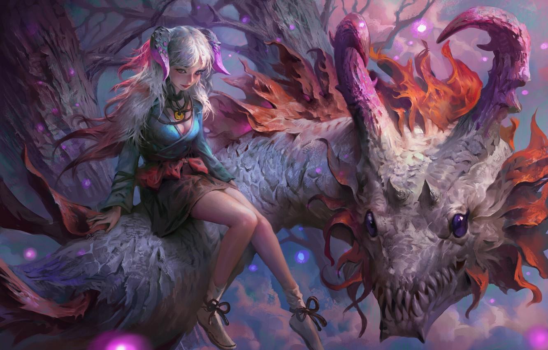 Фото обои girl, fantasy, horns, legs, purple eyes, dragon, digital art, artwork, fantasy art, Elf, creature, fantasy …