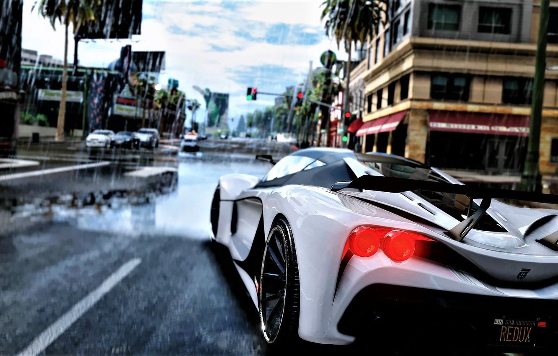 Фото обои Авто, Игра, Дождь, Арт, Спорткар, GTA V, Рендер, Grand Theft Auto V