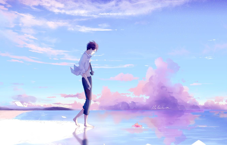Фото обои небо, природа, аниме, арт, парень, lluluchwan