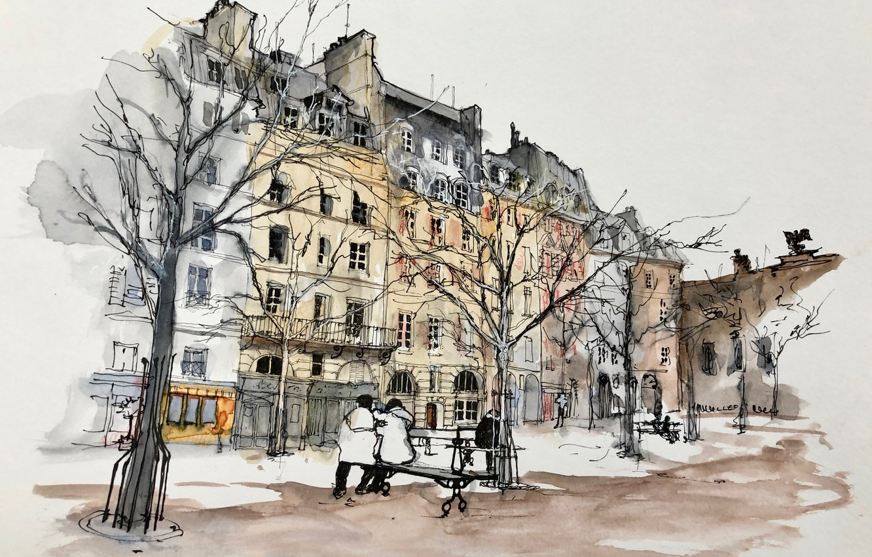Фото обои рисунок, Париж, акварель, сквер, городской пейзаж