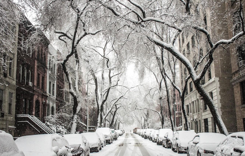 Фото обои зима, снег, город, дерево, Улица, сугробы