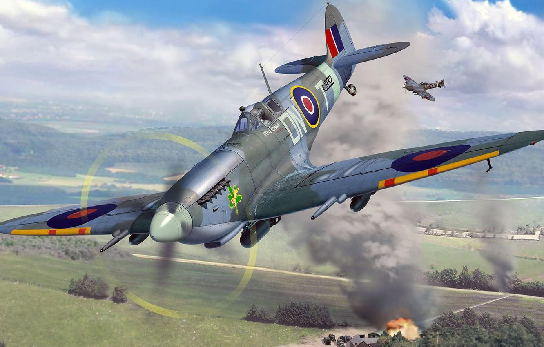 Обои spitfire, mk.ixc, Supermarine. Авиация foto 12